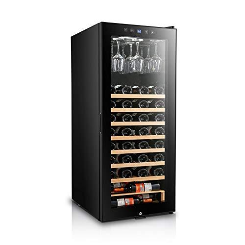 MSG ZY 57 fles wijn koelkast - vrijstaande opslag wijnkoeler, hydraterende wijnkelder met 360 ° constante temperatuur, zwart