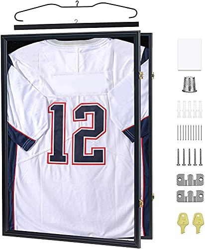 Mrwye 2XL Jersey Display Frame - Jersey Frame Display Case - Jersey Shadow Box for Baseball Basketball Football Soccer Hockey Sports Shirts, Uniform, 98% UV Protection Acrylic Glass, 2 Hanger(Black)