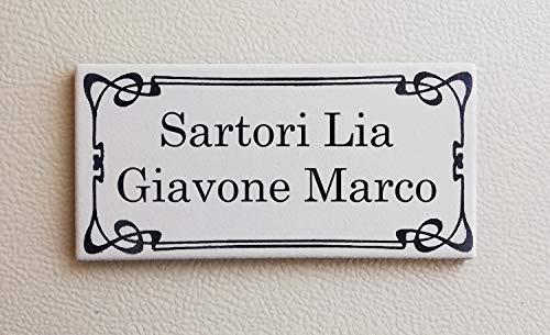 Mosaici Guizzo Targa in Ceramica incisa_Colore Bianco_Stile Liberty 1