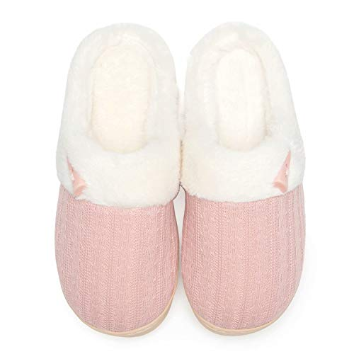 NineCiFun Women's Slip on Fuzzy Slippers Memory Foam House Slippers Outdoor Indoor Warm Plush...