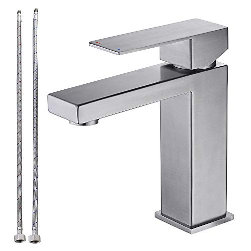 TNOMS Commercial Bathroom Sink Faucet Square Modern Basin Mixer Contemporary Water Tap with Single Lever, Deck Mounted, Brushed Finish, FB005BR