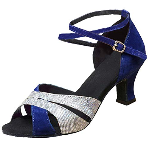 NMERWT Frauen Sandalen Schnalle Rumba Waltz Prom Ballsaal Latin Salsa Tanzschuhe Damen mit Niedrigem Absatz Square Dance Schuhe