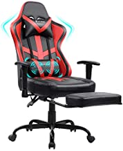 Gaming Chair Massage with Footrest Red Ergonomic Reclining Video Game Chair Recliner PC Computer Chair with Headrest & Lumbar Support for Adult VON RACER