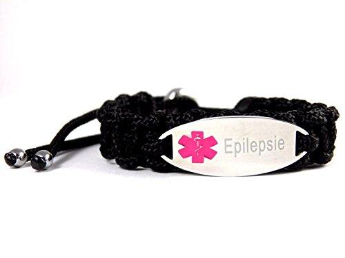 HanseCharms Medizinisches Notfallarmband Paracord Typ II, Armband Laser Graviert z.B.: Asthma, Histamin, Diabetes; Verstellbar, Rosa Logo (Epilepsie, S = 13-17 cm)