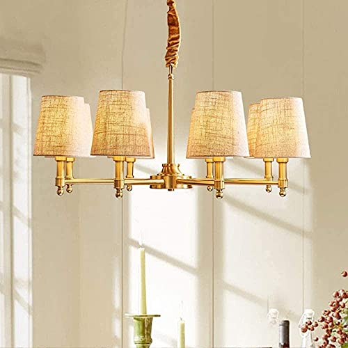 LLLKKK El cobre se puede ajustar para facilitar la limpieza. Fuente E14, lámpara de jardín, lámpara de salón, cadena colgante de 50 cm, ropa de cama, iluminación de decoración del hogar.