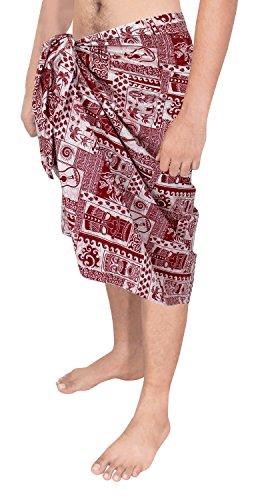 LA LEELA Chitarra Cotone 100% Egiziano antichi Uomini Avvolgere Foglia Sarong 78x39 in.Red