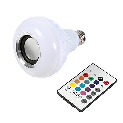 Yosoo Ampoule LED E27 12W RVB Bluetooth Luminaire Couleur sans Fil Lecture de Musique Lampe avec Télécommande
