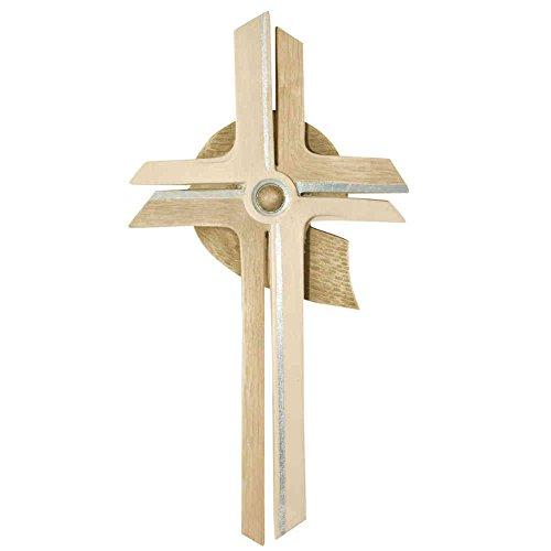 kruzifix24 Devotionalien Wandkreuz Holzkreuz Sonne modern geschnitzt 2-farbig gebeizt mit Silberstreifen 30 x 15 cm Schmuckkreuz