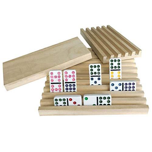 4 soportes de madera para dominó o dominó, para azulejos de dominó,...