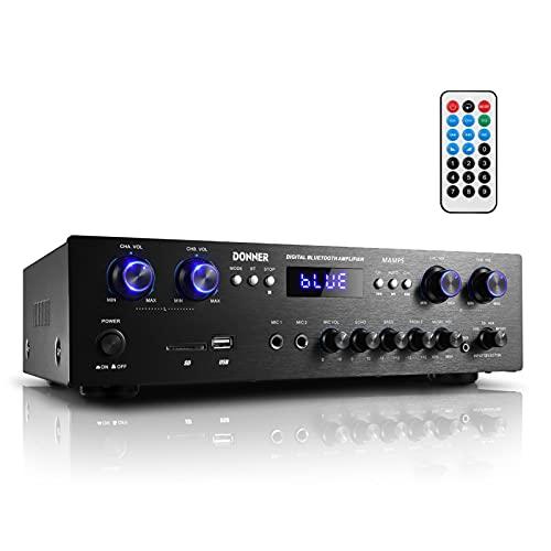 Amplificatore di potenza audio Bluetooth 5.0, Donner Amplificatore wireless Hi-Fi 440 W Amp desktop a 4 canali con USB, SD, FM, 2 microfono IN Echo, RCA, LED, altoparlante per studio, casa-MAMP5