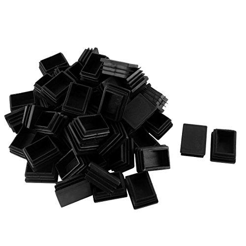 Sourcingmap Plastique Rectangle Tube Tuyau Inserts Fin Blanking Cap 30 mm x 40 mm 50 pcs Noir