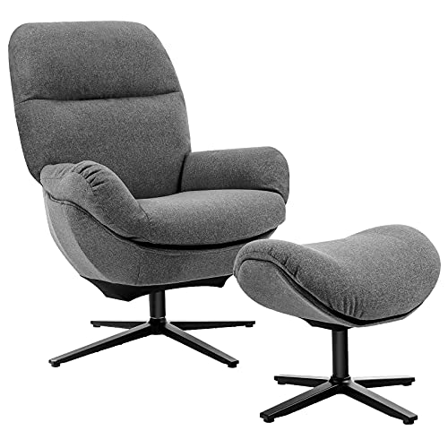 Giantex Swivel Lounge Chair w/Ottoman, Upholstered 360 Accent Lazy Recliner Armchair w/Rocking Footstool, Aluminum Alloy Base, Comfy Fabric Leisure Sofa Club Chair, Support to 330lbs, Grey
