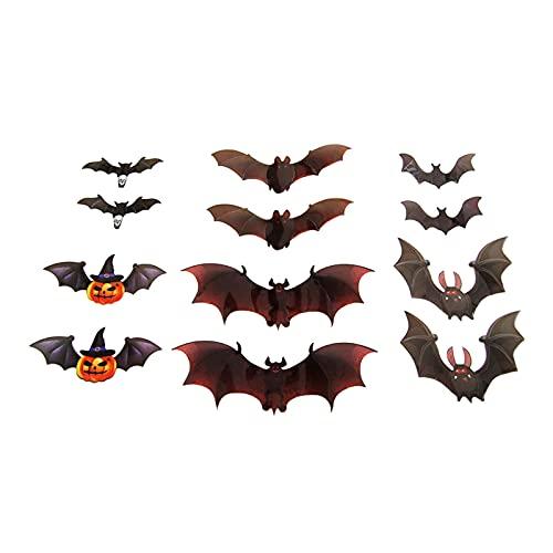 Junerain 12 calcomanías de pared de murciélago de calabaza de Halloween 3D, adhesivo 3D extraíble de terror, pegatinas de pared de murciélagos realistas de Halloween, calcomanía de pared