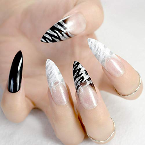 TJJF Ongles pré-conçus pointus extra longs Noir Blanc Zebra Bent Press On Nails Long French Nails Y compris Colle Sticker