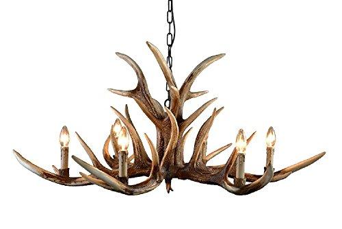 EFFORTINC Antlers vintage resin 6 light chandeliers, American rural countryside antler chandeliers,Living room,Bar,Cafe, Dining room deer horn chandeliers