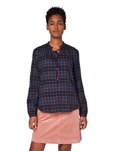 TOM TAILOR Damen Blusen, Shirts & Hemden Karierte Bluse mit Rüschen-Kragen Navy Grid Check Chenille,38