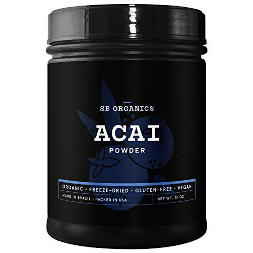 SB Organics Premium Acai Powder - USDA Organic, Non-GMO, Freeze-Dried Berries - Antioxidants, Fiber, Vitamins, and Minerals - 16 oz.