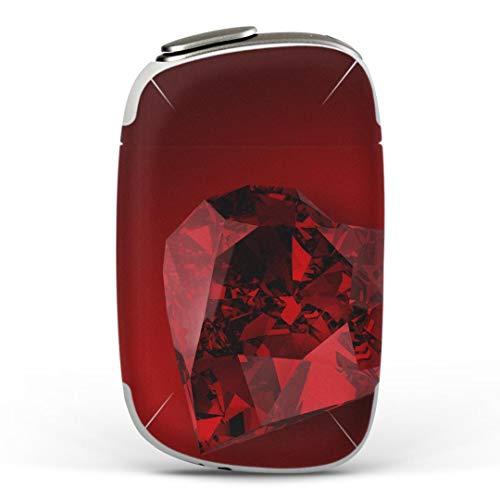 igsticker PloomS 専用 プルームテック Ploom TECH S デザインスキンシール カバー ケース 保護 フィルム ステッカー 005258 ラグジュアリー ハート 宝石 赤
