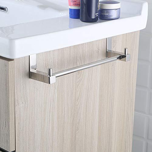 Repuestos originales garantizados Sin taladros Fabricado en acero inoxidable con acabados en cromo brillo de largo se cuelga en el mueble Toallero lateral para mueble de ba/ño 2 perchas de 20 cm