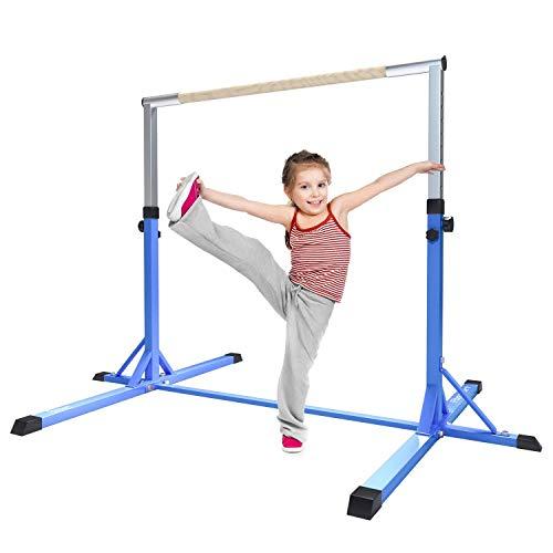 FBSPORT Gymnastik horizontale Bar Ausrüstung gymnastische Turngerät Turnreck für Kinder,Verstellbare Höhe Stabile Home Hohe Bars(Blue)