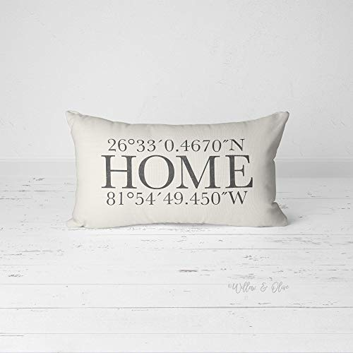Personalized Home Latitude and Longitude GPS Map Coordinates Lumbar Throw Pillow, 20x14 inches,...