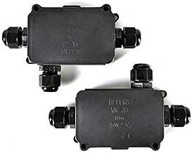 Idealeben 2pcs Caja de Conexión IP66 Diámetro del Cable de 4-8mm (Negra)