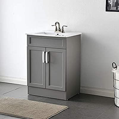"VCCUCINE Modern 24"" Bathroom Vanity Light Gray Bathroom Vanity Set, 2 Door Bathroom Cabinets Free Standing Sink Combo with Ceramic Sink"