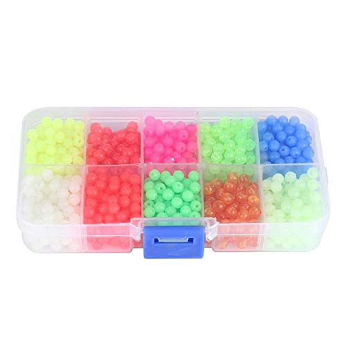 Alomejor 1000 Stück/Schachtel Angeln Perlen Kunststoff Luminous Oval Egg Bead In Dark Lure Floating Float Tackles