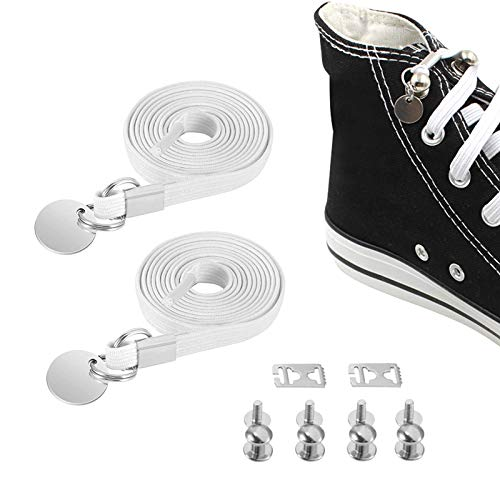 2 Pairs No Tie Shoelaces One Handed Buckle Shoestring for Kids and Adults - Best in Sports - Flat Elastic Athletic Running Shoe Laces for Sneaker Boots Board/Casual Shoes (2 pairs)