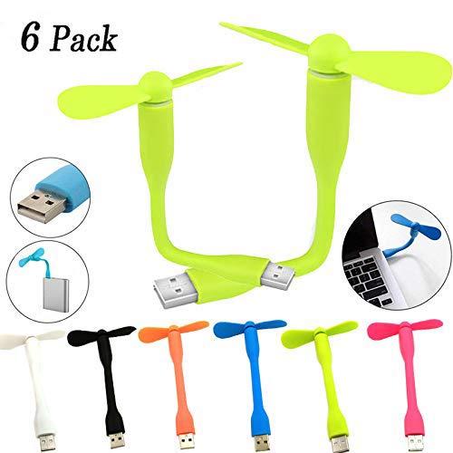 BESTZY USB Mini Fan,USB Powered Mini Cooling Fan USB Lüfter mit flexiblem für Notebook,Desktop-PC, Powerbank(6 Pack)