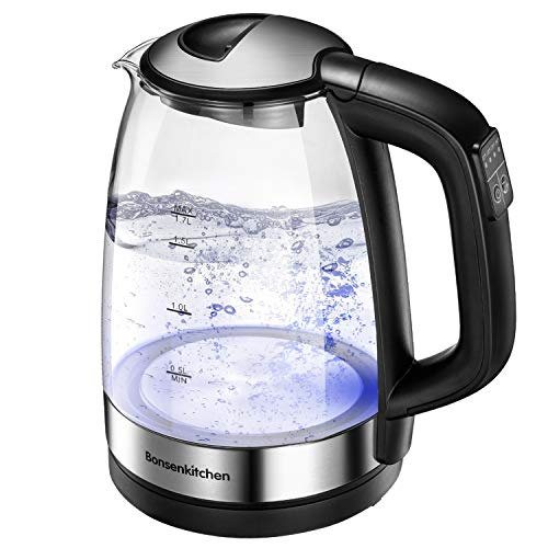 Bonsenkitchen Hervidor de Agua Eléctrico, Hervidor de Cristal con Control de Temperatura...