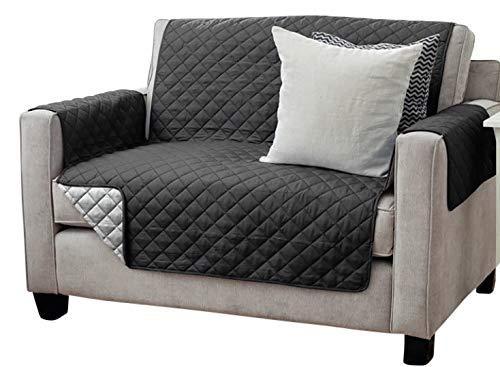 Viva Sesselschoner Sofaschoner Sesselschutz Sofaüberwurf (2-Sitzer 191 x 224 cm, schwarz/anthrazit)