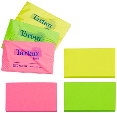 Tartan 12776N Haftnotiz Neon Notes (127 x 76 mm, 63 g/qm, 6 Blöcke) 100 Blatt neon