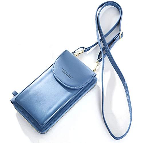 Damen Mini Handytasche Leder Universal Outdoor Reise Leder Handytasche Umhängetasche Schultertasche Kartenfächer Reise Geldbeutel Handys unter 6,3 Zoll für Samsung iPhone Huawei LG HTC