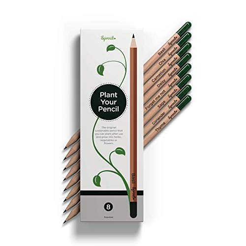 Sprout Bleistifte – Der originale Sprout Bleistift | Stifte zum Einpflanzen | aus unbehandeltem Bio Naturholz und mit bleifreien Minen | Bleistifte und Samen in höchster Qualität | 8er Pack