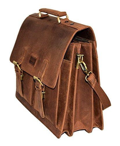 Menzo Aktentasche aus echten Leder, Laptoptasche bis zu 15 Zoll, Vintage Umhängetasche, Messenger Bag für Damen und Herren, Ideal für Schule, Uni oder Arbeit (braun)