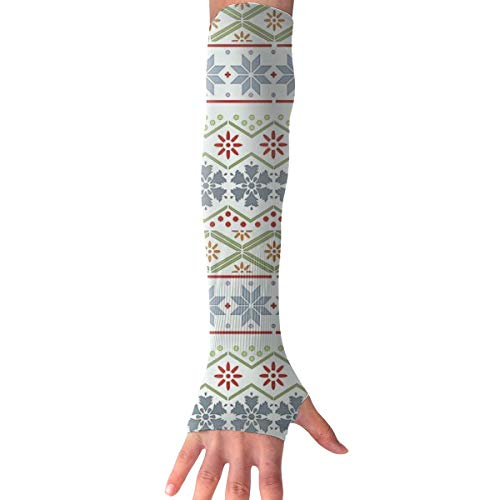 RZM YLY Unisex Nordic Style Christmas Pattern Arm Sleeves UV Sun Protective Fashion Tattoo Arm Gloves Long Sleeve Perfect for Driving (1 Pair)