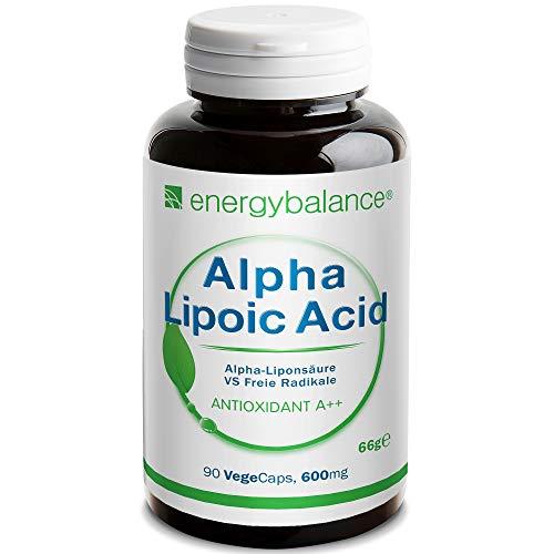 EnergyBalance Alpha-Liponsäure - Kapseln mit Antioxidantien - Thioctsäure - für Vegetarier - Vegan, Glutenfrei - 90 VegeCaps à 600 mg