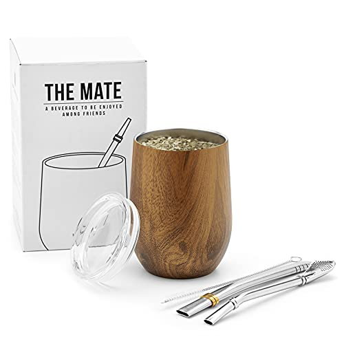 BALIBETOV Modern Mate Cup And Bombilla Set (Yerba Mate Cup) -Yerba Mate Set includes Double Walled 18/8 Stainless Steel Mate Tea Cup, Two Bombilla Mate (Straw) and a Cleaning Brush (Wood, 12)