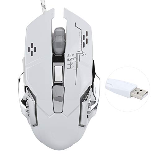Taidda- Smoother Gaming Mouse, Metal Mouse, USB for Computer Laptop Notebook Pc Desktop(X3 White Mouse (Upgrade))