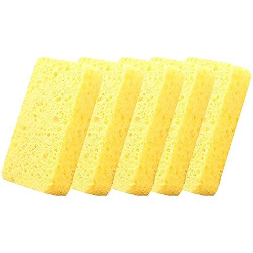 RTUQ 5 spugne da cucina, grandi 11 x 7 x 2,5 cm, lavabili, riutilizzabili, spugna, strofinaccio, spugna per risciacquo, spugna magica con microfibra (giallo)
