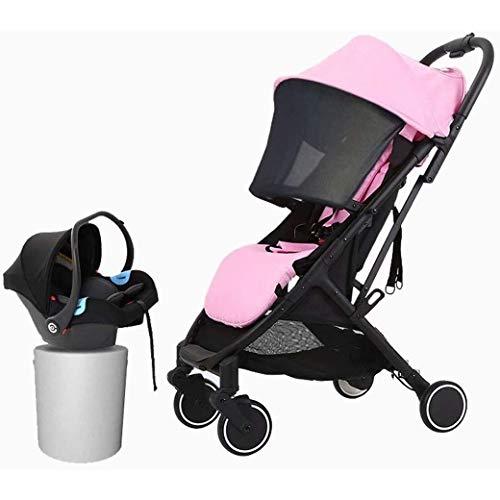 QJY Draagbare Baby Kinderwagen 2 in 1 Kinderwagen - voor pasgeborenen en voor het toevoegen van Net Cover Travel Kinderwagen Opvouwbaar Aluminium Pushchair roze