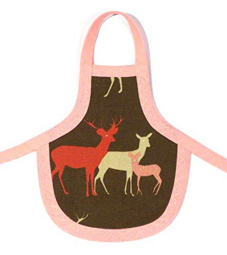 Spülischürze - Schürze für die Spülmittelflasche braun rosa Hirsch Reh Kitz