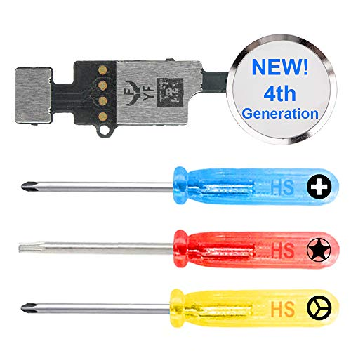MMOBIEL Botón de Inicio Universal Compatible con iPhone 7/8/7 Plus / 8 Plus (Blanco/Plata) 4.ª generación YF con función de actualización de restauración