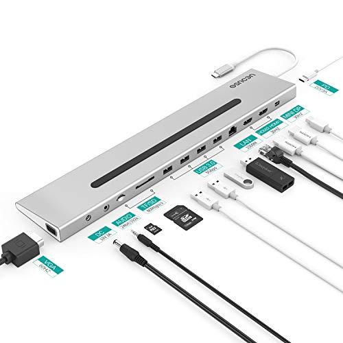 Station d'accueil USB C Dock USB C 14 en 1 avec 2 Ports HDMI Port VGA, Port RJ45, 4 Ports USB 3.0, Port Audio, Port CC, Port Mini DP et Fente SD/TF (Gris)
