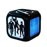 ZhangXF Super Kreative Avengers Wecker, 3D Stereo LED Nachtlicht Elektronische Wecker, Nachttischuhr Schlafzimmer Geburtstagsgeschenk Wecker (Sieben Farben),A:Batteryboxversion