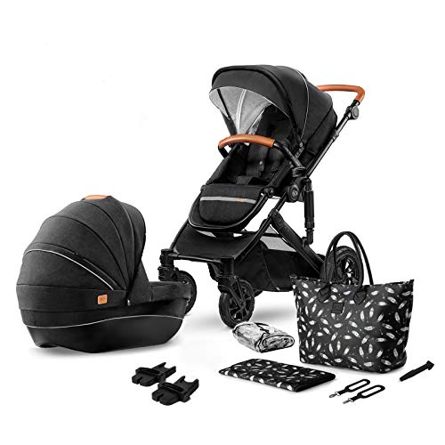 Kinderkraft Pram 2in1 Set Prime 2020, Travel System, Elegant Baby Pushchair, Foldable, Lying Position, Carrycot, Accessories, Rain Cover, Footmuff, for Newborn, from Birth to 3.5 Years, Black