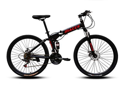 DUWIN Mountainbike,Faltbares Fahrrad 26 Zoll Fahrrad Rad Bike 21/24/27 Gang Hardtail Mountainbike Mit verstellbarem Sitz Disc Brake Fahrrad für Herren und Damen,Schwarz,26 inch 27 Speed