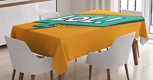 ABAKUHAUS lol Tafelkleed, Retro tekst Speech Bubble, Eetkamer Keuken Rechthoekige tafelkleed, 140 x 170 cm, Orange Sea Green