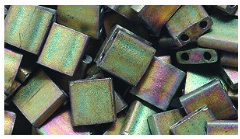 Miyuki Tila Square Two Hole Bead TL2035, 5mm, Khaki Iris Matte, 10Gram Pack